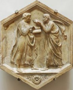 Plato and Aristotle, or Philosophy. Marble panel from the North side, lower basement of the bell tower of Florence, Italy. Museo dell'Opera del Duomo.