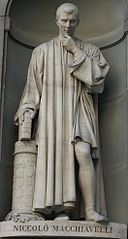 Niccolo Machiavelli statue, By The original uploader was Frieda at Italian Wikipedia (Transferred from it.wikipedia to Commons.) [GFDL (http://www.gnu.org/copyleft/fdl.html) or CC-BY-SA-3.0 (http://creativecommons.org/licenses/by-sa/3.0/)], via Wikimedia Commons