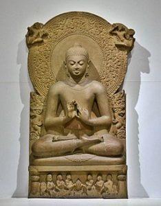 Teaching Buddha (Dharmacakra mudrā). Gupta period. Sandstone, H. 160 cm. Archaeological Museum (ASI), Sarnath, India.