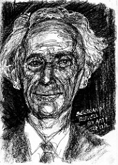Pen and ink sketch of Bertrand Russell