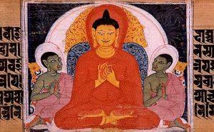 Painting of the Buddha's first discourse, turning the Dharmacakra. Sanskrit Astasahasrika Prajnaparamita Sutra manuscript written in the Ranjana script. Nalanda, Bihar, India. Circa 700-1100 CE.