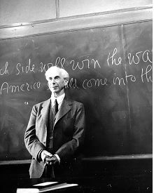 Bertrand Russell lecturing at the University California, Los Angeles where he had taken up a three-year appointment as Professor of Philosophy in March 1939.