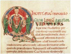 Illuminated Initial from Anselm's Monologian By Hugo Pictor [Public domain], via Wikimedia Commons