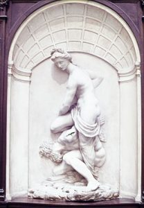 virtue overcoming vice statue, Giambologna [CC0], via Wikimedia Commons
