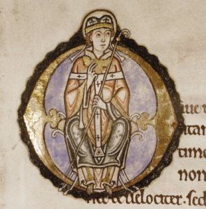 An illuminated O featuring an archbishop—presumably Anselm—from the copy of Anselm's Prayers and Meditations found in MS. Auct. D. 2. 6, a 12th-century illuminated text collected by the Benedictine nunnery at Littlemore and held since c.1672 by Oxford's Bodleian Library.
