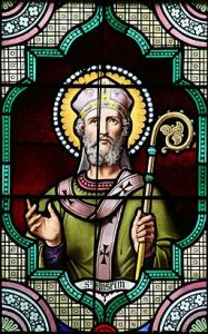 St. Anselm of Canterbury in an English glass window of 19th cent.