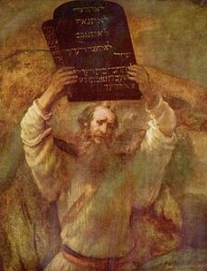 Moses with the Tablets of the Law Rembrandt [Public domain], via Wikimedia Commons