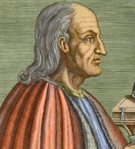 A colorized portait of Anselm of Canterbury after Unknown artist, line engraving, late 16th century