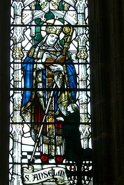 Chester ( England ). Cathedral: Refectory - Eastern window ( 1916 ): Saint Anselm of Canterbury ( detail )