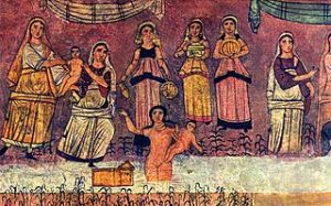 Moses found in the river. Fresco from Dura Europos synagogue.