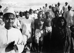 Gandhi during the Salt March, March-April 1930.