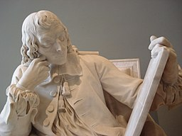 By Vania Teofilo statue of Blaise Pascal (1623–1662) studying the cycloid, engraved on the tablet he is holding in his left hand; the scattered papers at his feet are his Pensées, the open book his Lettres provinciales. Exhibited at the Salon of 1785; the plaster model was exhibited at the Salon of 1781.