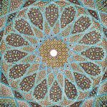 Iranian glazed ceramic tile work, from the ceiling of the Tomb of Hafez in Shiraz, Iran. Province of Fars.