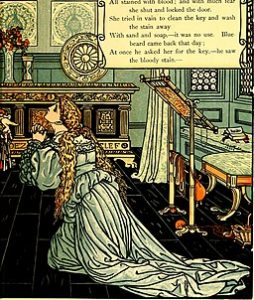poor wife, distracted, picked the keyp from the floor,Ci All stained with blood ; and with much fea she shut and locked the door.She tried in vain to clean the key and wash the stain awayWith sand and soap,—it was no use. Blue beard came back that day ;At once he asked her for the key,—he saw the bloody stain,