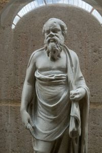 Statuette of Socrates. (A Hellenistic prtrait of the philosopher.) Plaster cast. Original is in British Museum, London. Cambridge Museum of Classical Archaeology.