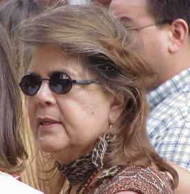"""Photo of Wilma Mankiller taken at the 2001 Cherokee National Holiday . """"Phil Konstantin"""" creator of this photograph."""