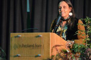 WInona LaDuke gave the keynote address for Campus Sustainability Day at Portland State University on Oct. 22, 2014.