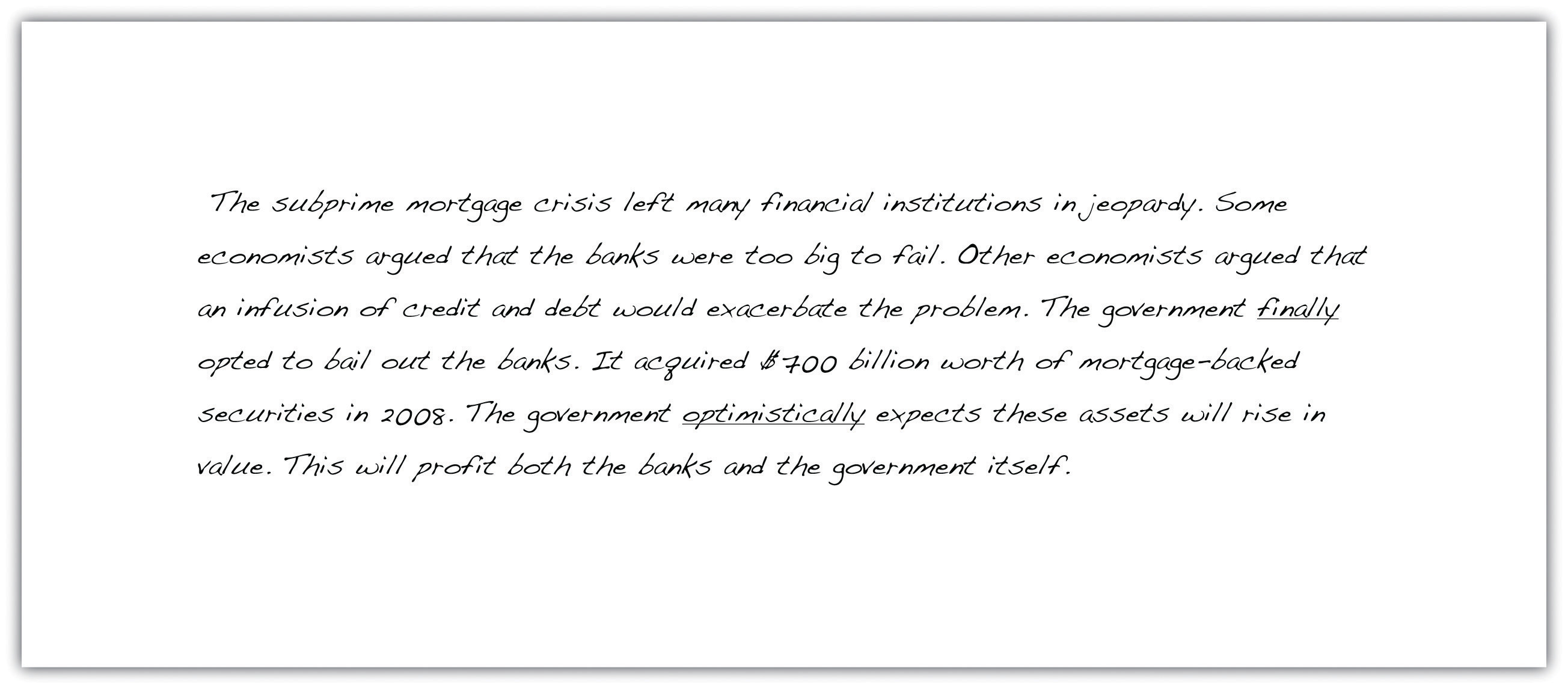 essays on government bailout