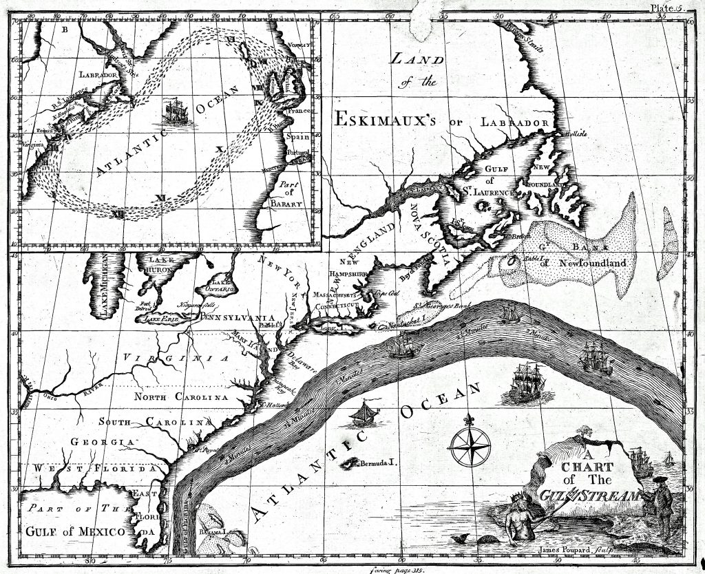 colonial north america american environmental history Native Amaricans benjamin franklin s 1775 map describing the gulf stream for the first time note the inclusion of the grand banks and ge e s bank fisheries