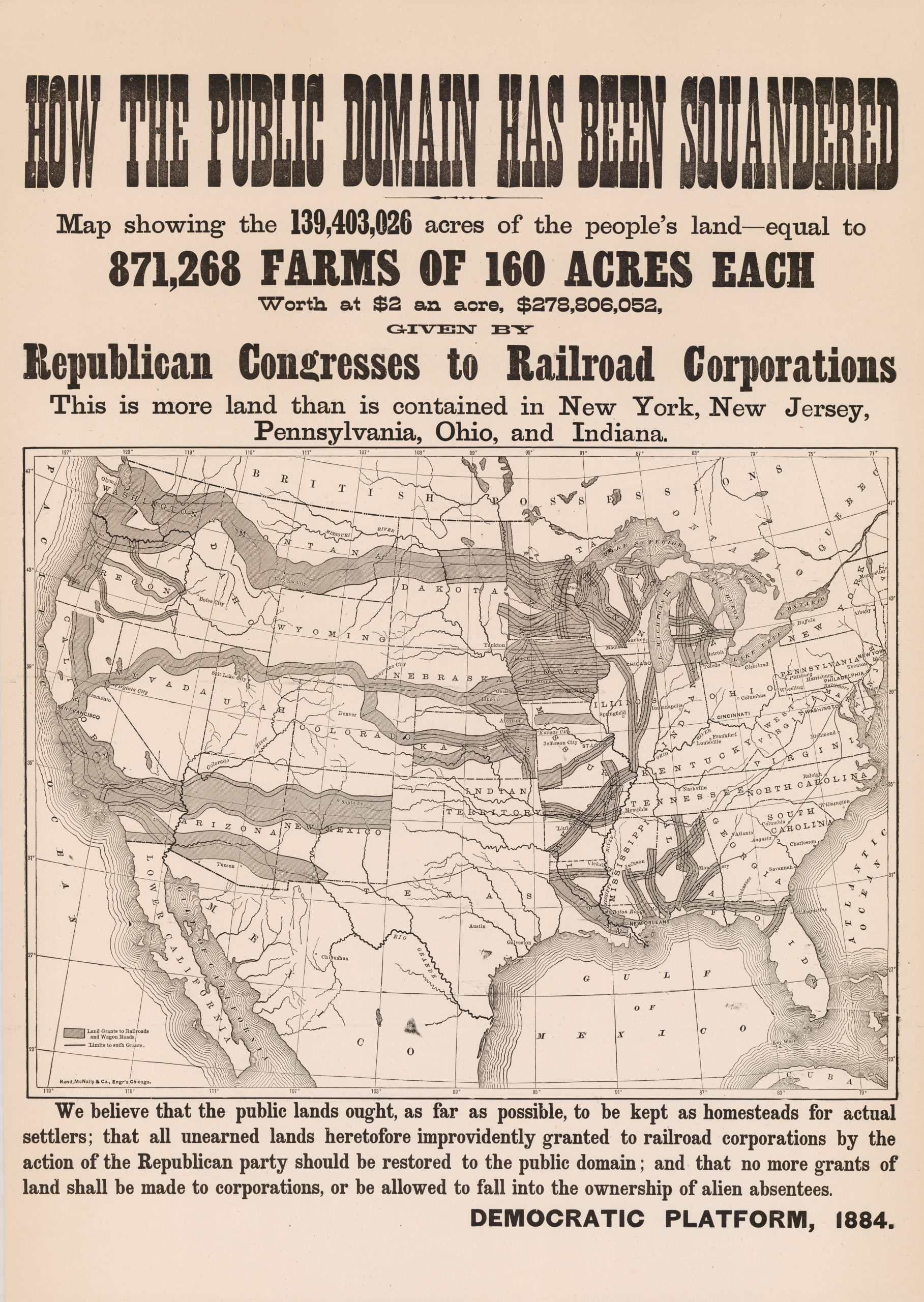 Map of government land grants to railroad companies