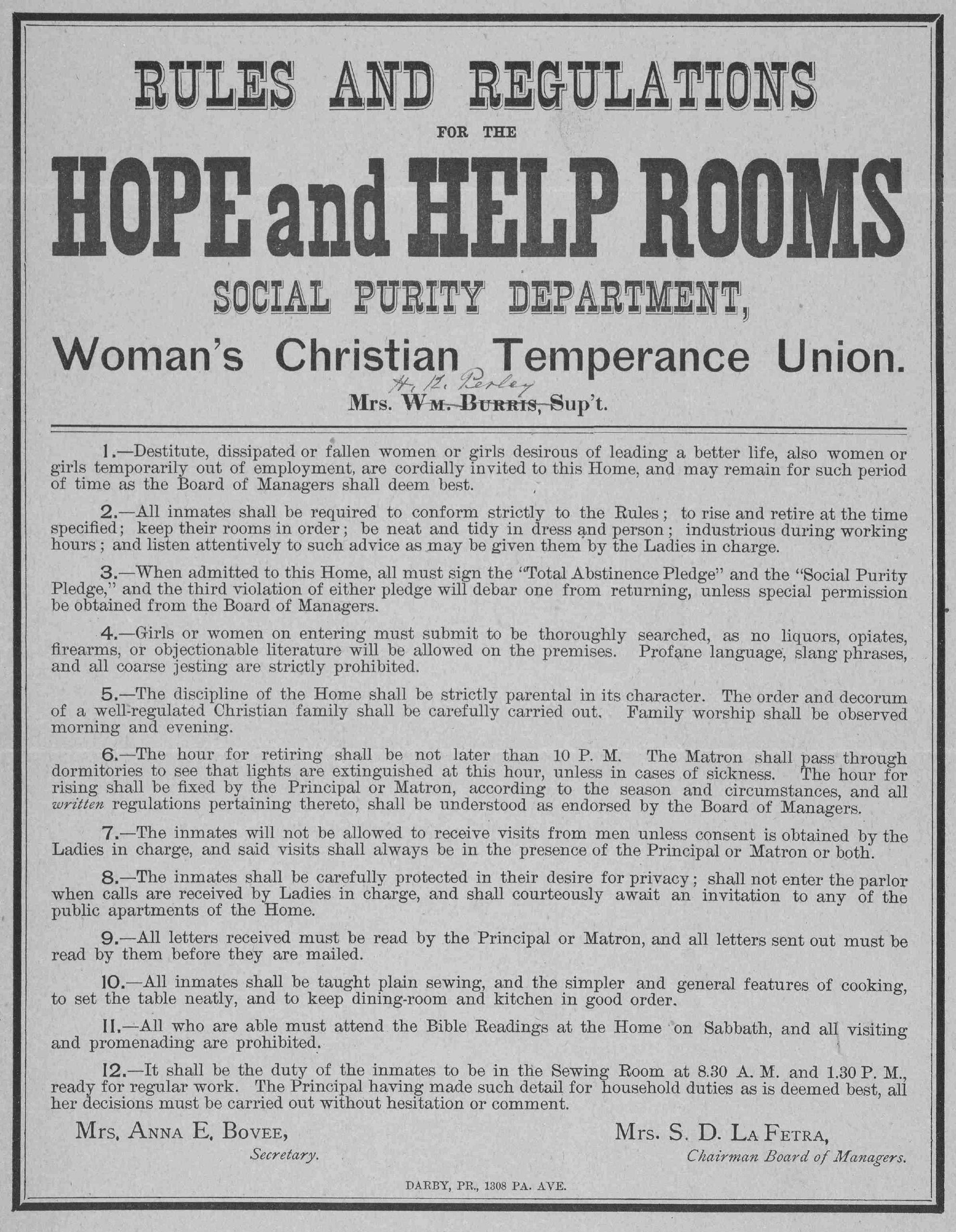 WCTU rules, 1887
