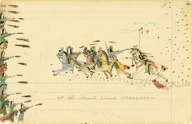 Depiction of the Sand Creek Massacre by Cheyenne eyewitness and artist Howling Wolf