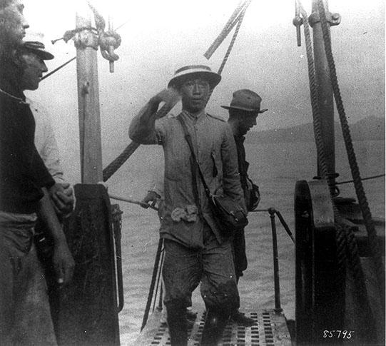 Emilio Aguinaldo boarding an American warship