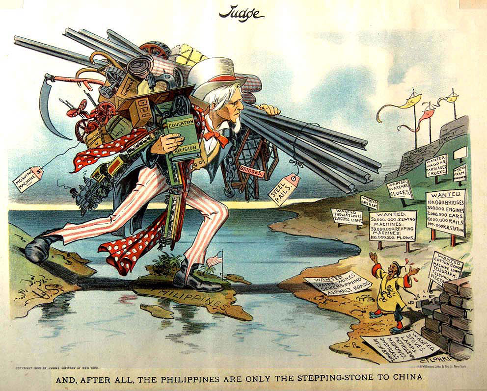 Editorial cartoon from after USA conquest of the Philippines