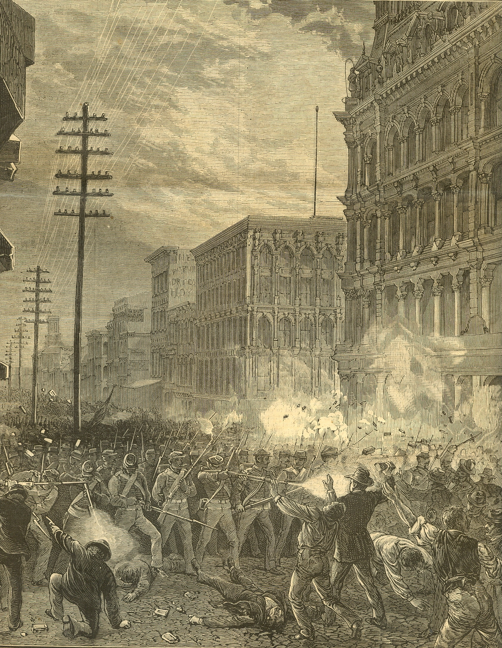 Soldiers firing on strikers during Great Railroad strike of 1877
