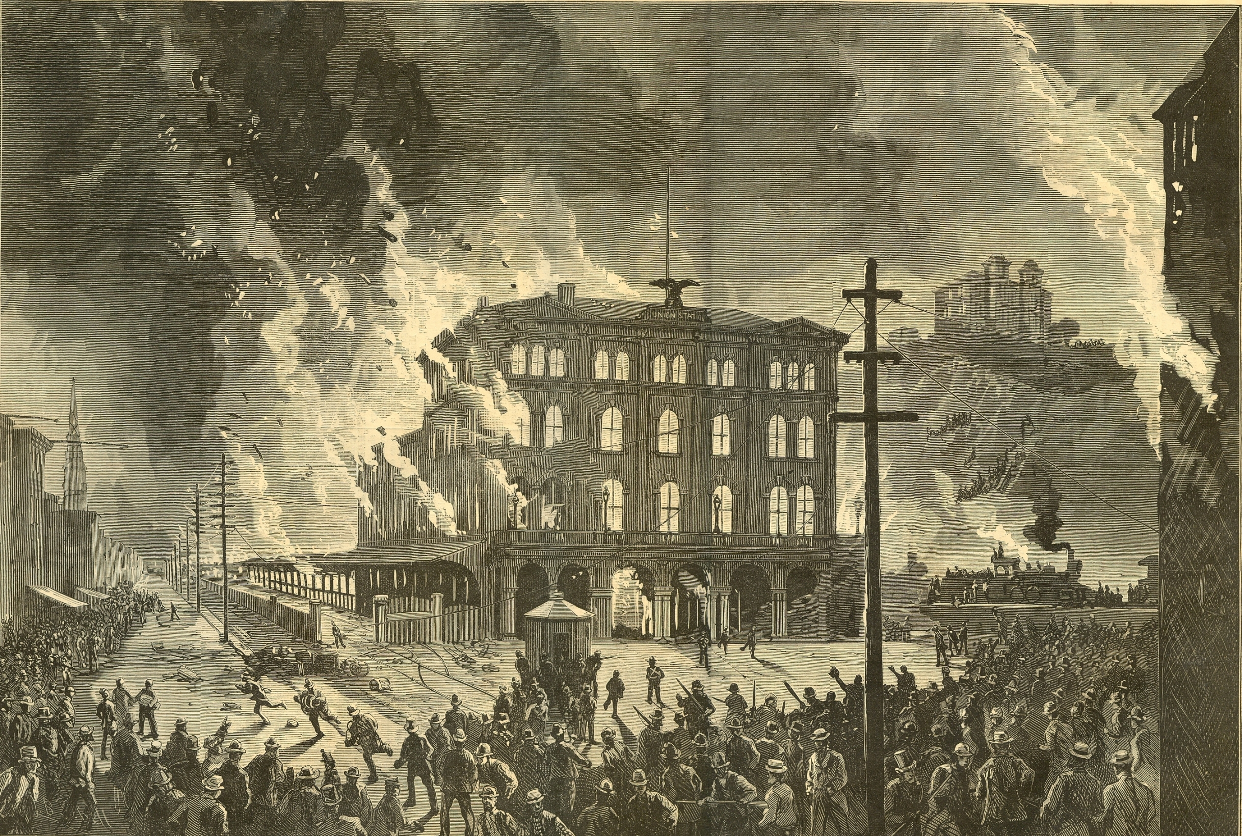Strikers burn the Union Depot in Pittsburgh