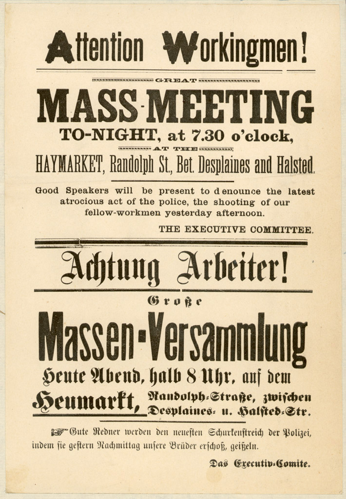 A bilingual English-German flier notifying people of a rally in support of striking workers