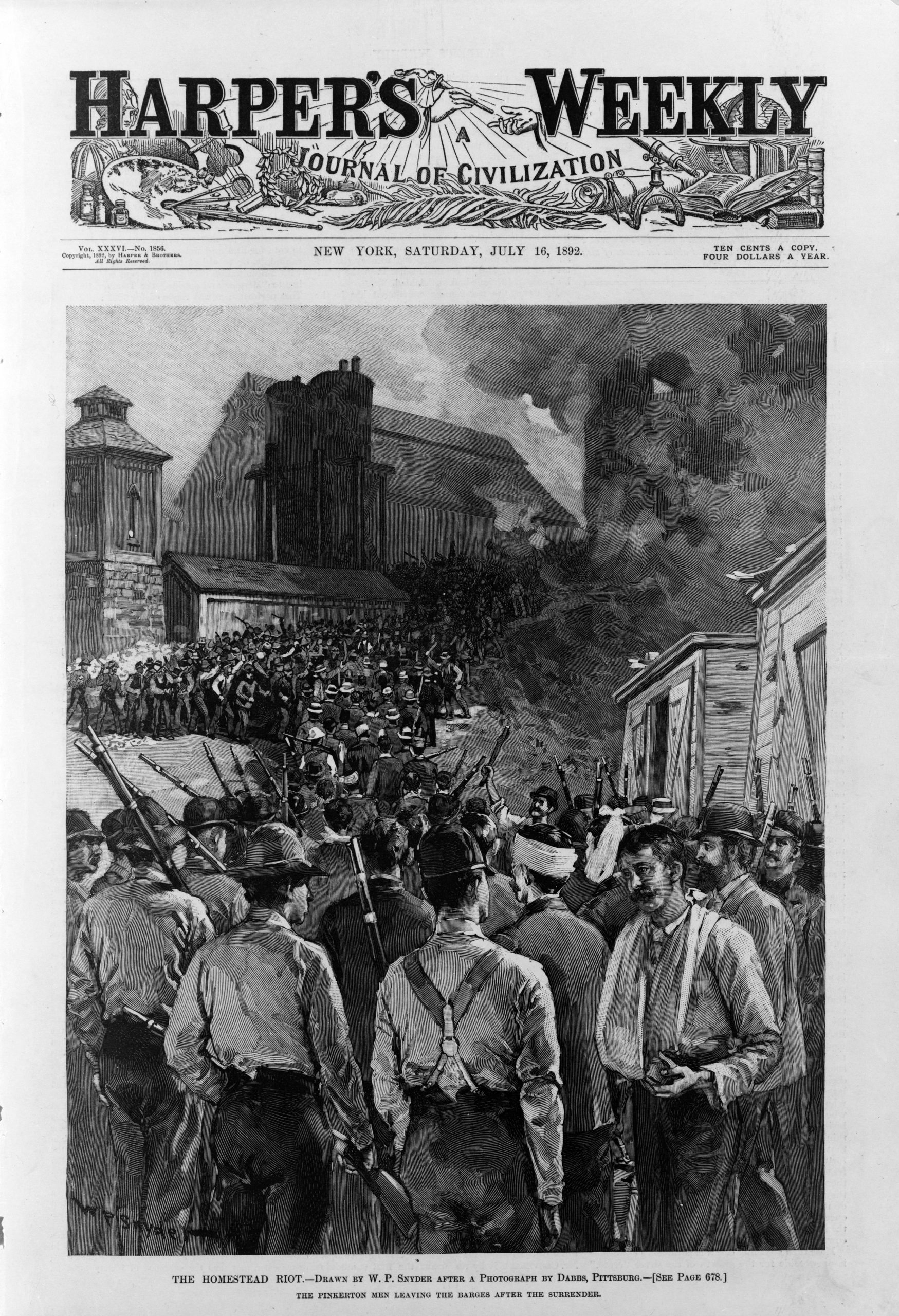Pinkerton men leave the barges after their surrender during the Homestead strike