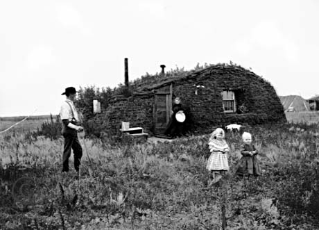Sod house and homesteaders