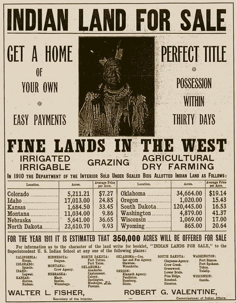 United States Department of the Interior advertisement offering Indian Land for Sale