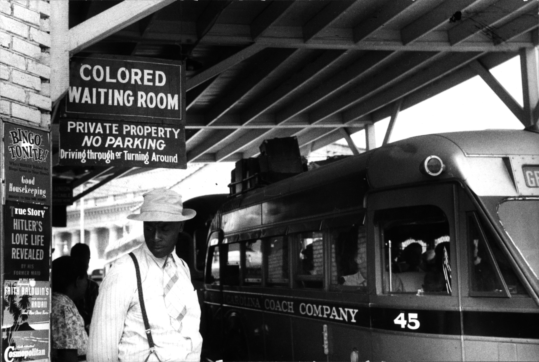 "Sign for the ""colored"" waiting room at a bus station in Durham, North Carolina, May 1940"