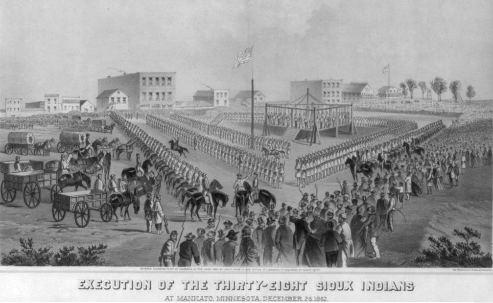 Drawing of the 1862 mass hanging in Mankato, Minnesota