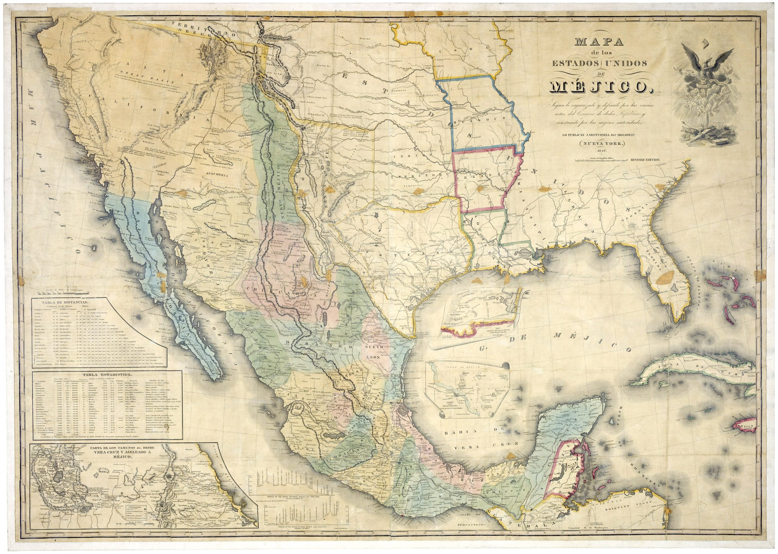 Map of Mexico, 1847