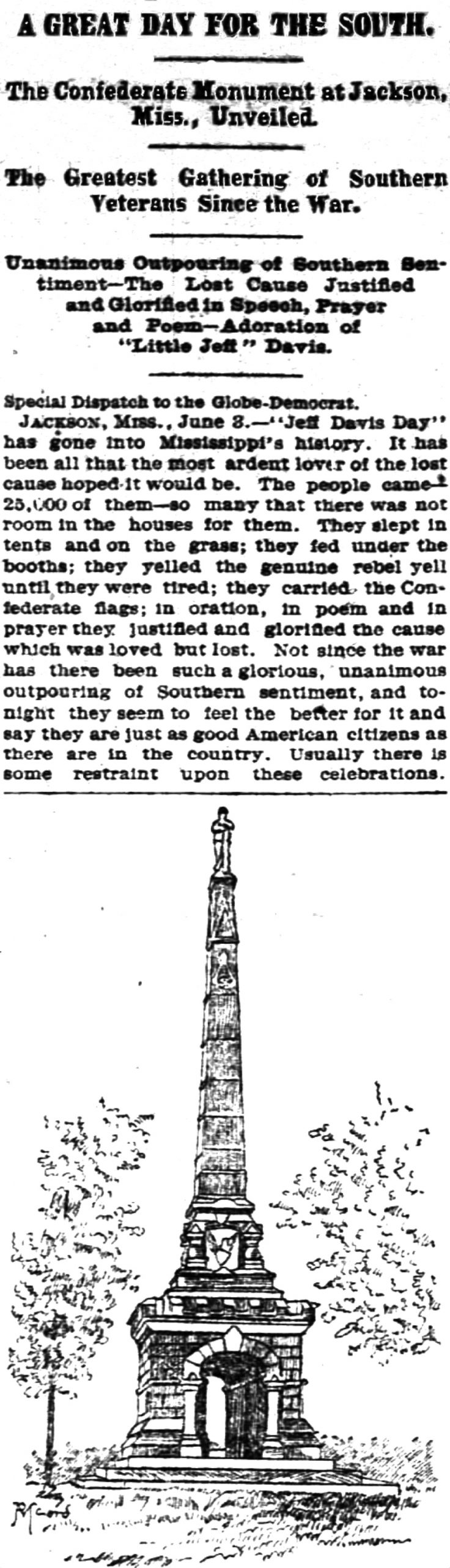 Newspaper clipping of the Lost Cause