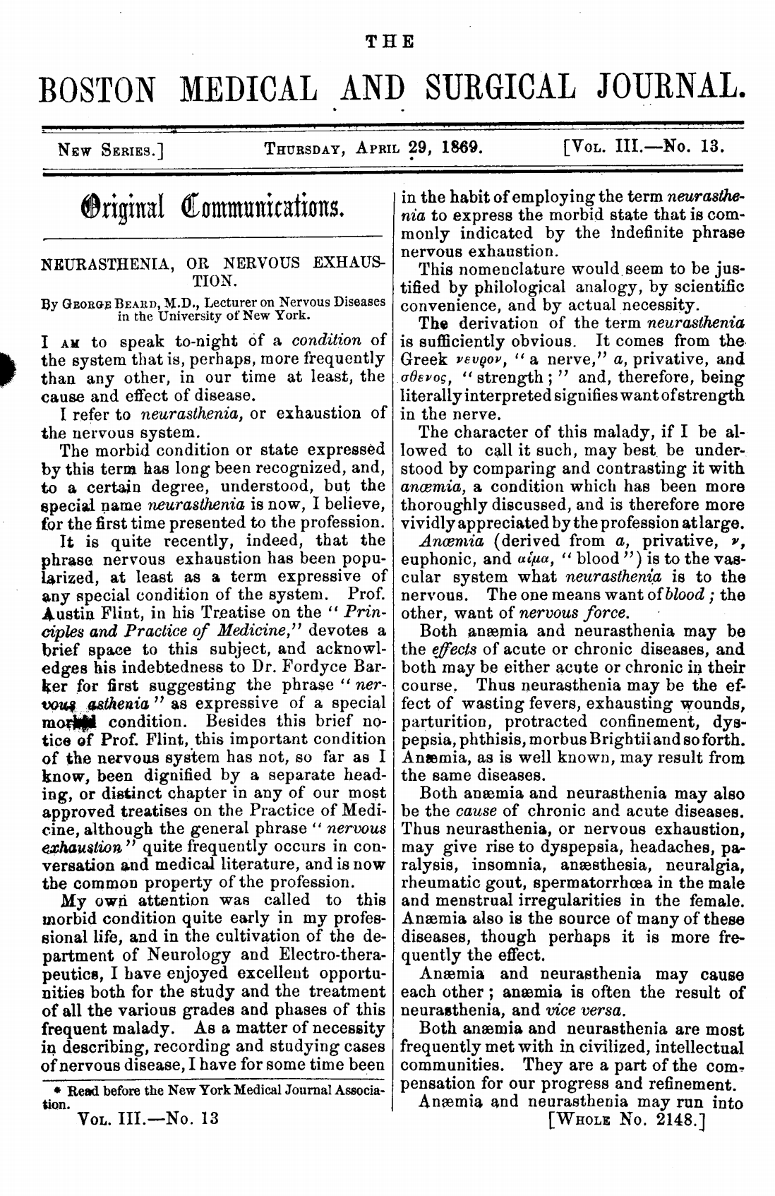 George Beard article on neurasthenia, 1869.