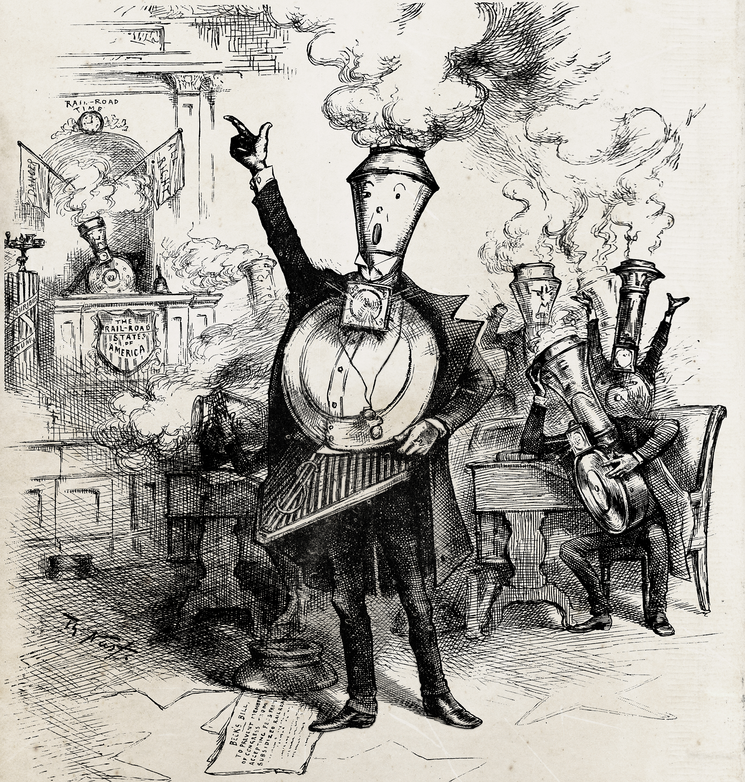 "Thomas Nast ""Senatorial Roundhouse"" political cartoon"
