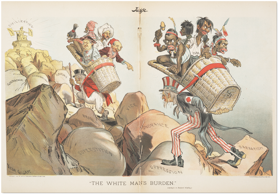 "John Bull (Great Britain) and Uncle Sam (U.S.) bear ""The White Man's Burden"""