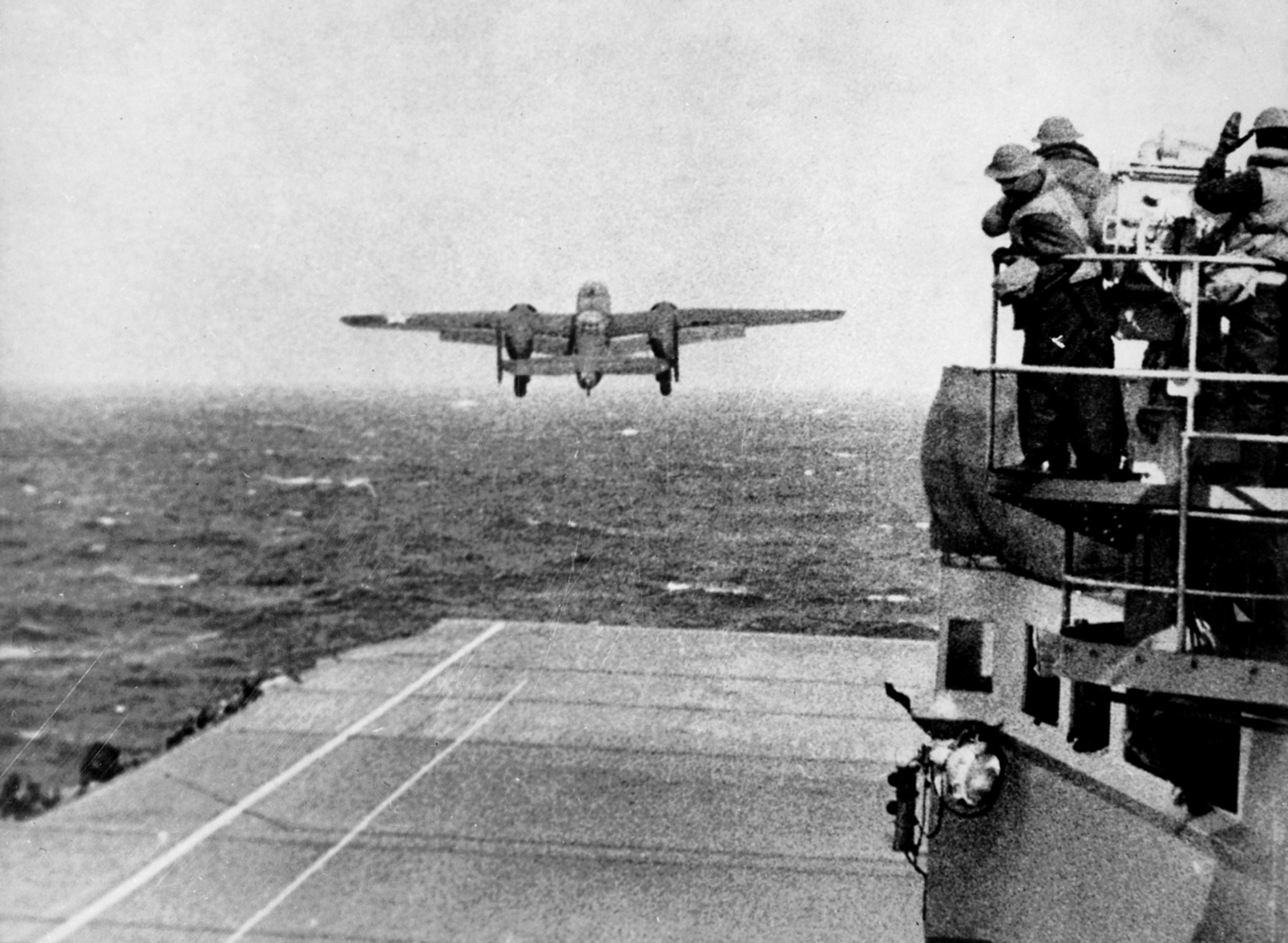 B-25B Mitchell bomber takes off