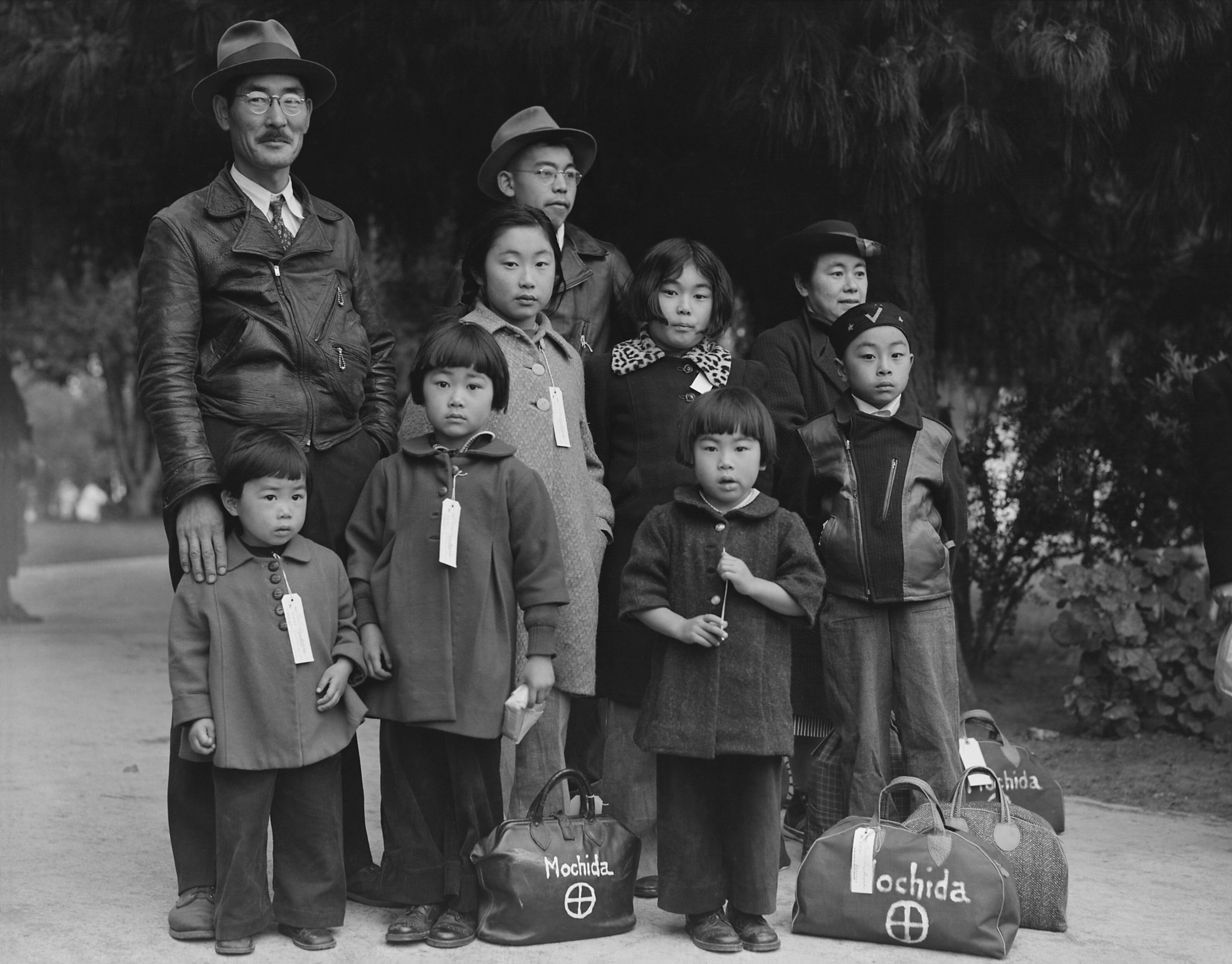 Mochida family awaiting transport to an internment camp