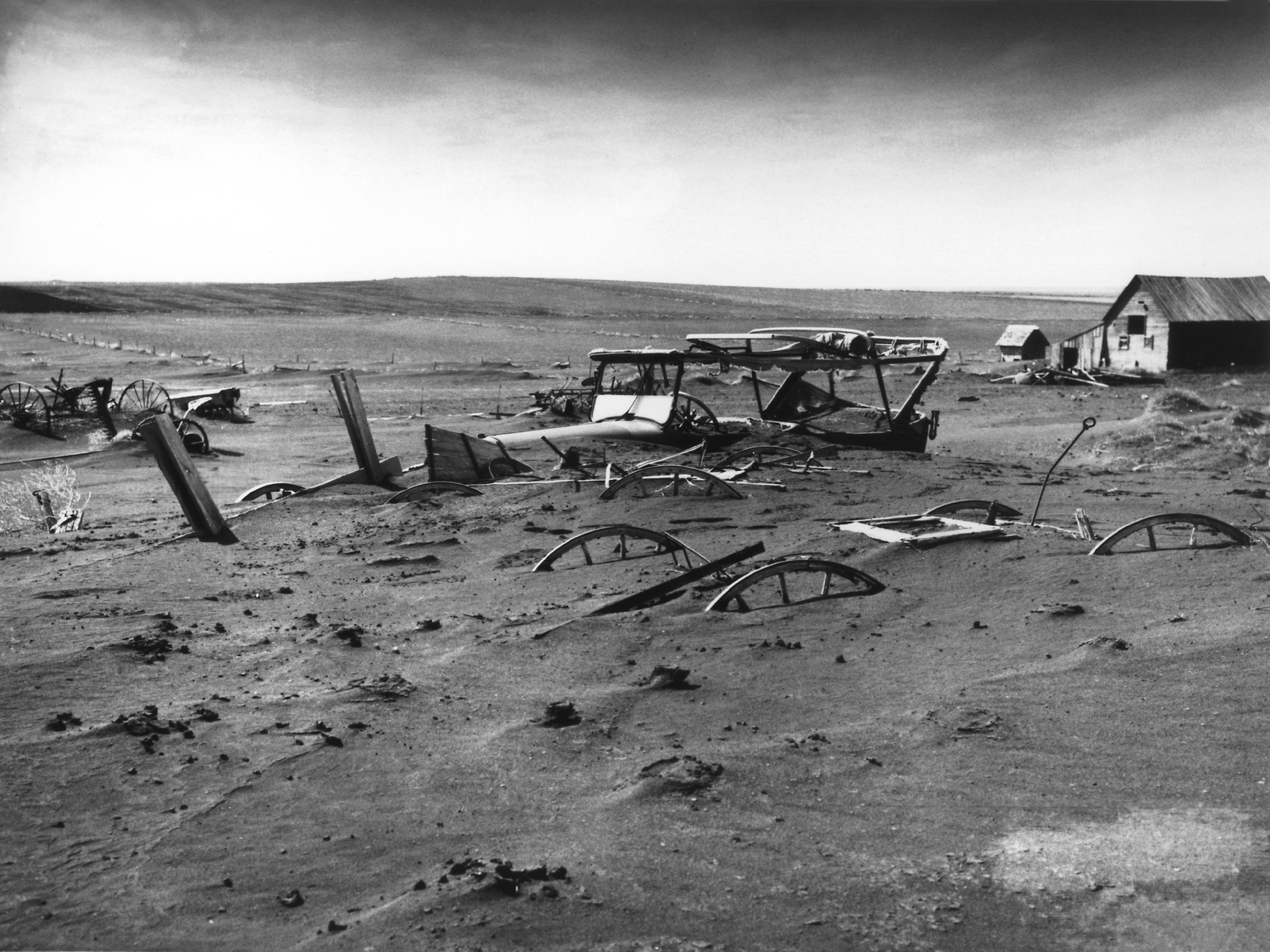 Buried farm machinery
