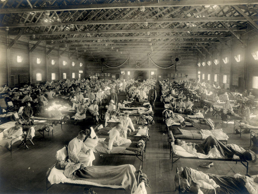 Soldiers from Fort Riley, Kansas, ill with Spanish flu