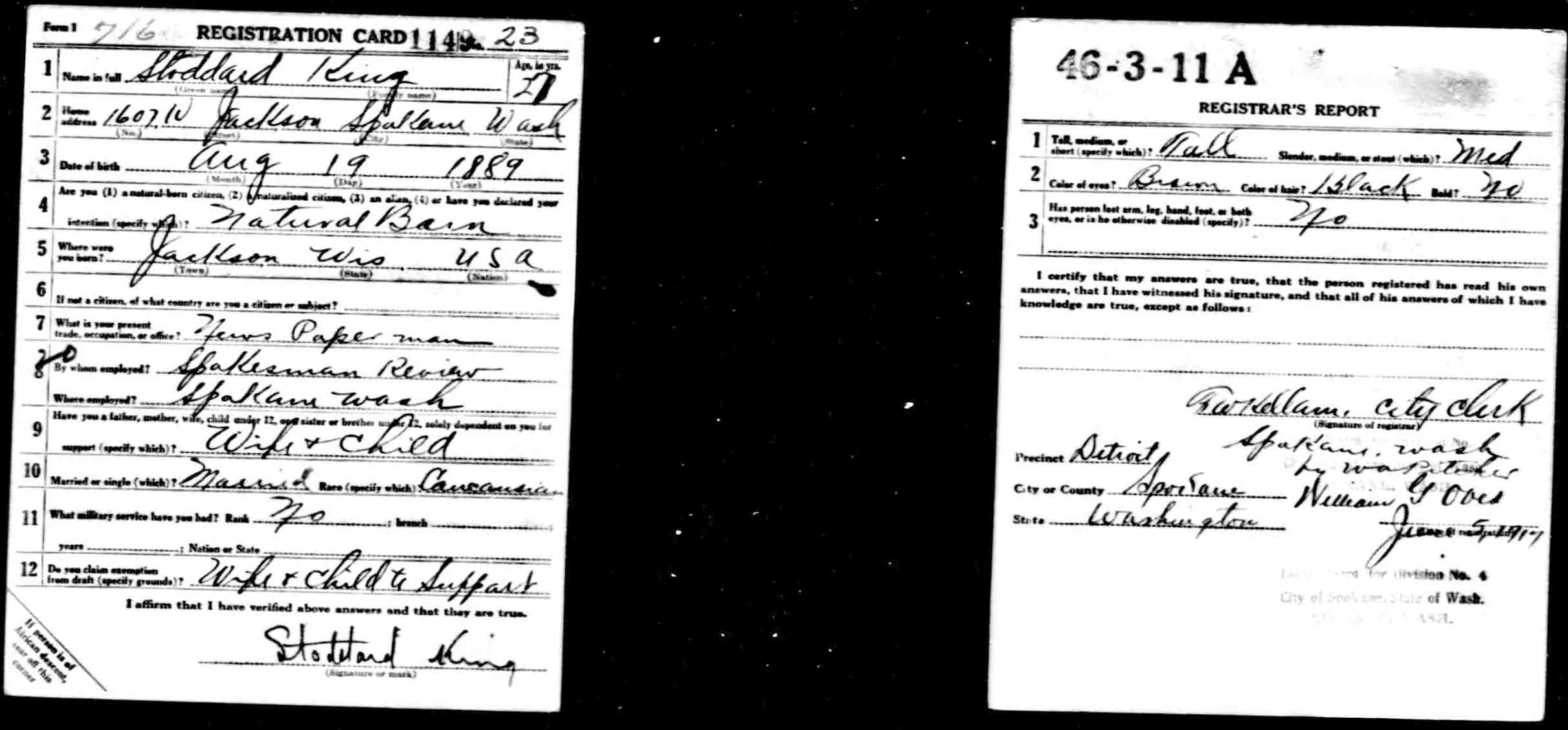 World War I draft card