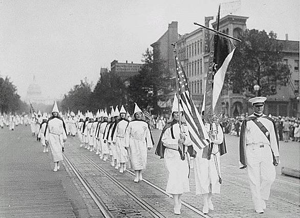 The Klan marching
