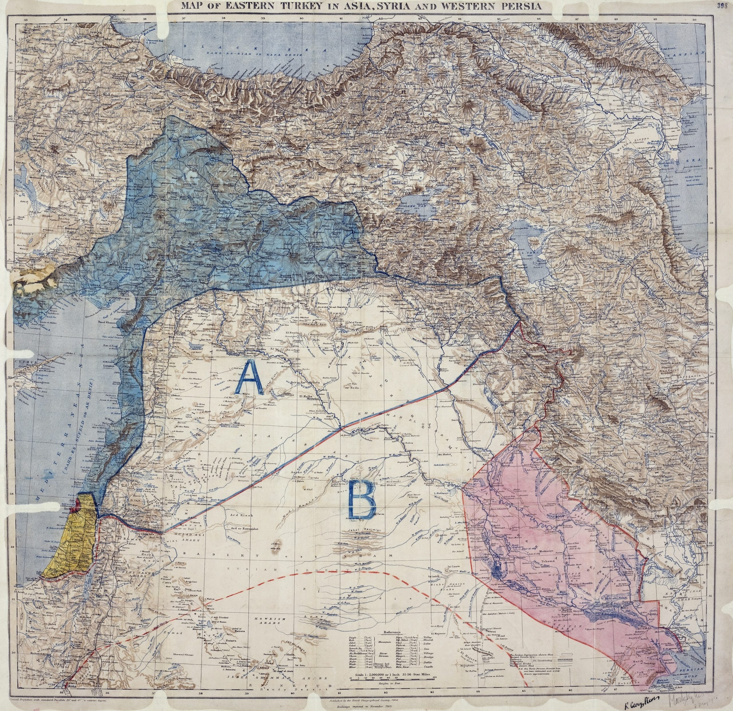 Map of Sykes–Picot Agreement