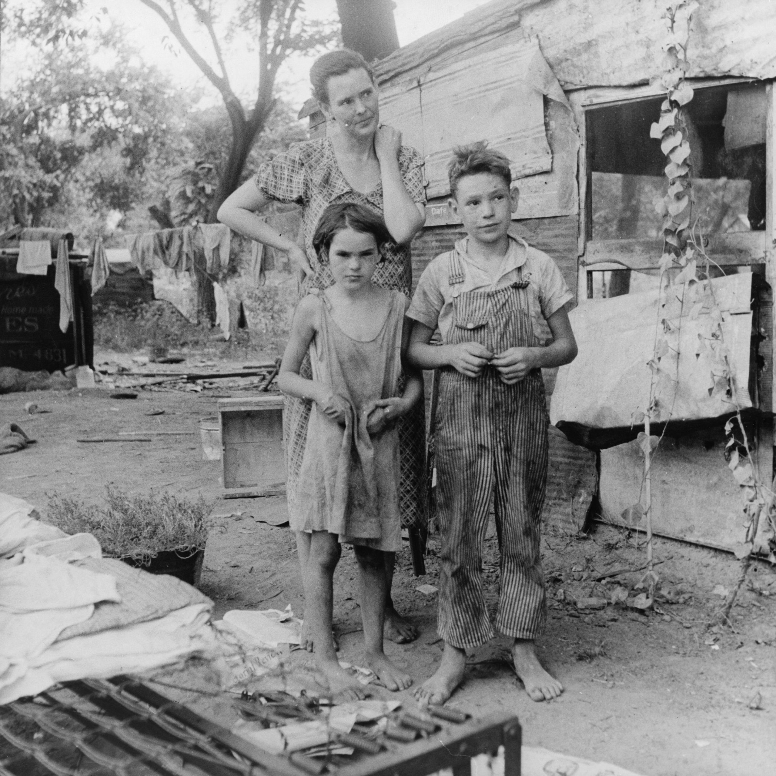 family living in a shanty