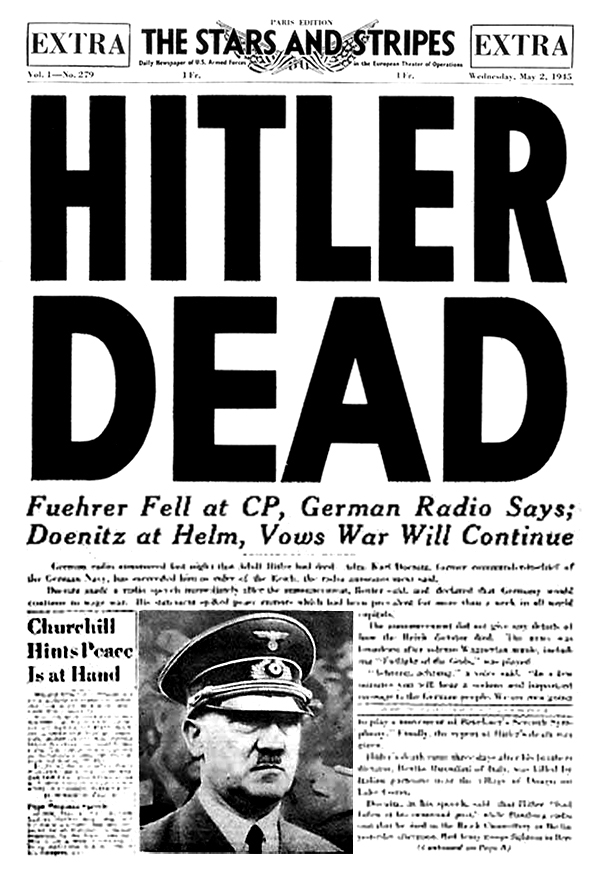 "Newspaper headline, ""Hitler Dead"""